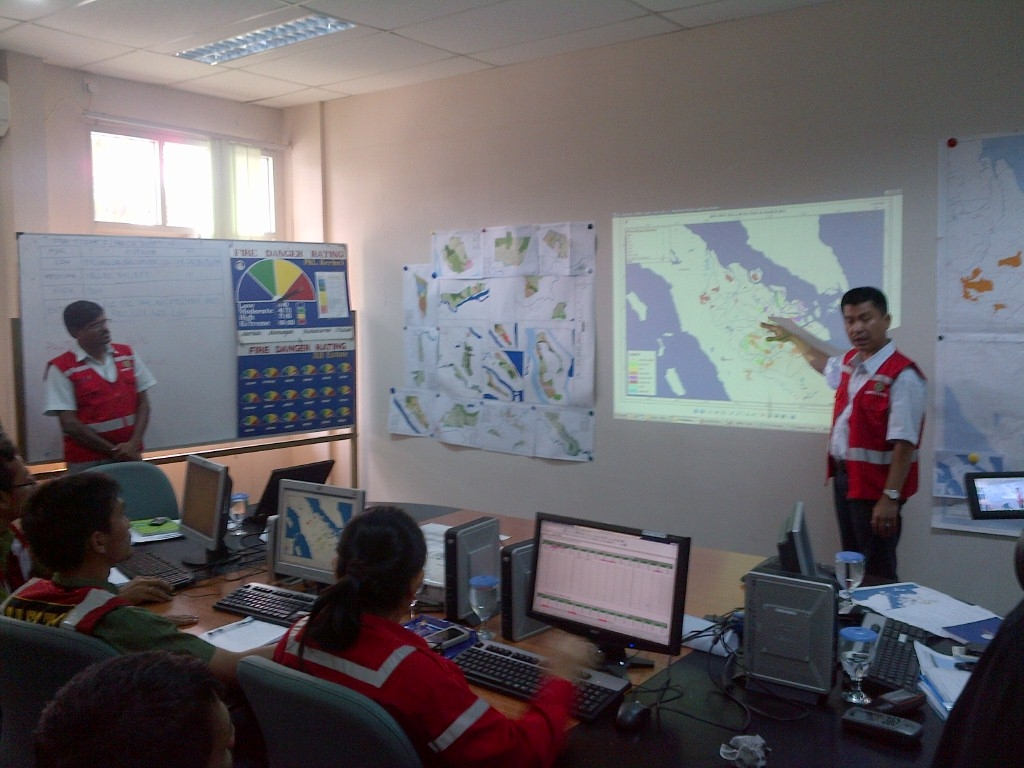 APRIL team at the control room, monitoring fire threat