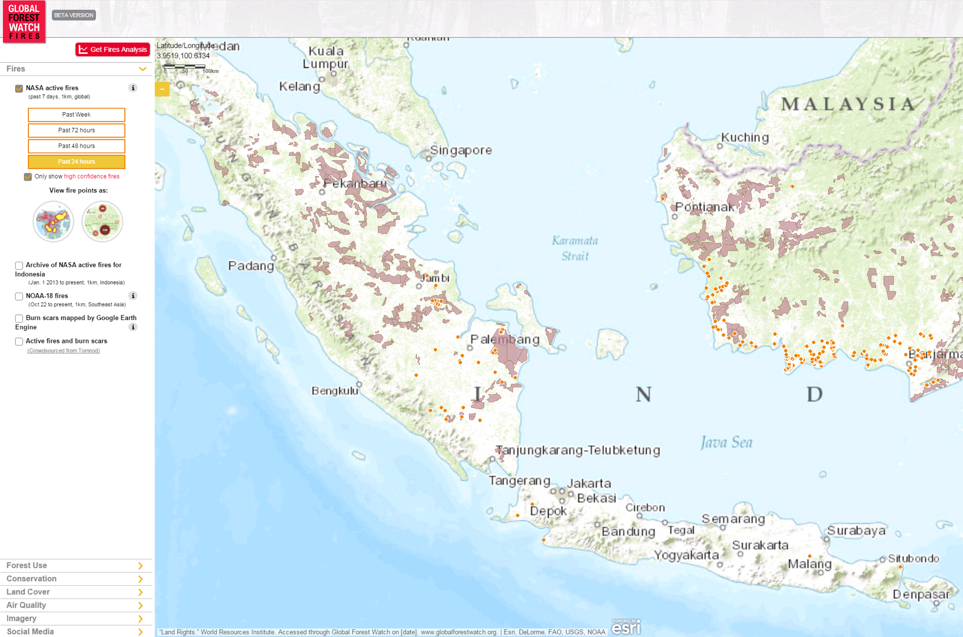 WRI-16 September 2015 - Hotspots are mainly located in South Sumatra and Kalimantan.