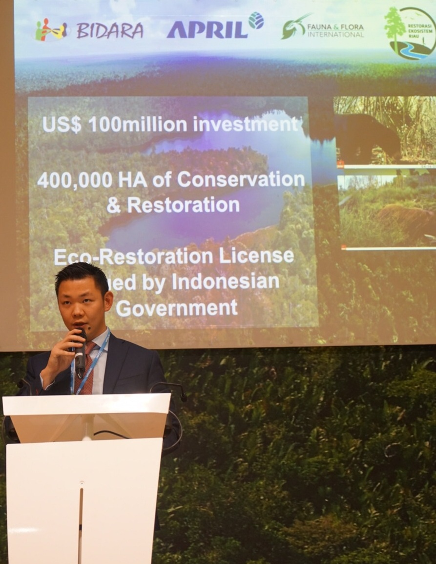 Anderson Tanoto giving remarks at the RER expansion announcement at the Indonesia Pavilion, COP21 in Paris